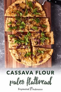 Try this easy, paleo and gluten-free flatbread the next time a craving strikes! Try this easy, paleo and gluten-free flatbread the next time a craving strikes! Flatbread Toppings, Gluten Free Flatbread, Gluten Free Baking, Gluten Free Recipes, Healthy Recipes, Bread Recipes, Advocare Recipes, Healthy Carbs, Paleo Baking