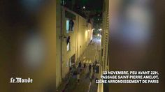 Le Monde journalist Daniel Psenny films people fleeing from emergency exit and climbing out of windows at Bataclan theatre