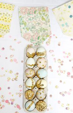 DIY sequin Easter eggs.