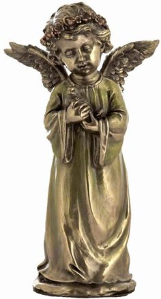 Young Angel Holding Pigeon Religious Figurine Statue Sculpture-Home Décor-Decorations-Christian Related Gifts-Available for Sale at AllSculptures.com