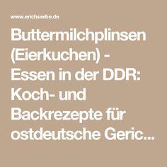 Buttermilchplinsen (Eierkuchen) - Essen in der DDR: Koch- und Backrezepte für ostdeutsche Gerichte | Erichs kulinarisches Erbe