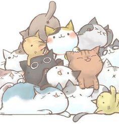 Pile of kitties!!! So chubby :3