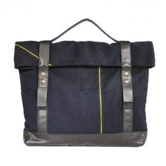 """""""cartable xl"""" is a business/laptopbag made out of navy wool trousers combined with leather (made in paris!)"""
