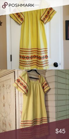 Vintage Yellow Embroidered Peasant Dress Vintage Yellow Embroidered Peasant Dress Vintage Dresses Midi