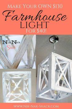 DIY Home Decor - Weathered Farmhouse Light with Edison Bulbs! Step by Step Tutorial! #diylighting, #farmhousedecor, #farmhouselighting