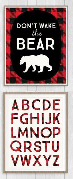 Cute nursery alphabet printables, black and red buffalo plaid. $5 #nursery #alphabet #abc #wallart #rustic #lumberjack #bear #plaid #printable #affiliate #etsy