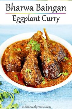 Bharwa baingan is a stuffed eggplant curry that is delicious, very flavorful and easy to make. Serve it with rice or roti. #bharwabaingan #eggplantcurry via @swasthi