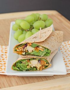 This Chinese Chicken Wrap is a perfect healthy lunch idea - it's fast and easy to make and it tastes great! Only 259 calories or 6 Weight Watchers SmartPoints. www.emilybites.com
