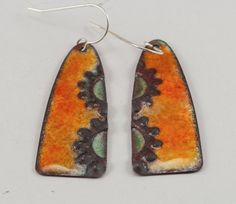 Glass Enamel Fall Earrings Fall Colors by LafJewelryDesigns