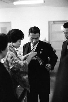 Daisaku Ikeda w his wife Kaneko on the day of his inauguration as third president