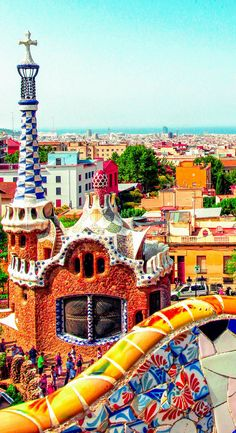 Park Guell composed of gardens and architectonic elements in Barcelona, Spain