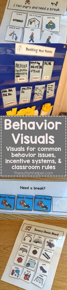 Read more for the MANY ways to use visuals during behavioral issues & in the classroom. From theautismhelper.com