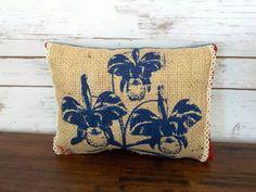 This bouquet of Irises won't fade . . . Coffee Sack Denim Throw Pillow - Iris Accent Pillow - Sustainable Home Decor - Burlap Lumbar Pillow - Farmhouse Decor - Blue Flower Pillow by CreationsReNew on Etsy