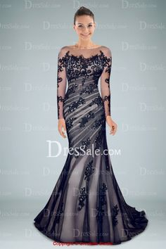 Classic Long Illusion Sleeve Evening Dress with Delicate Appliques and V-back