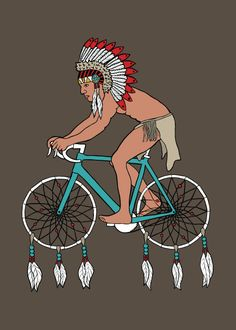 love.  line drawn Indian on a bike with dream catchers