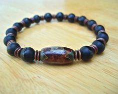 Hombres pulsera sanación espiritual valor y fuerza por tocijewelry