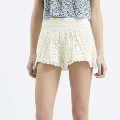 Topshop crochet shorts Adorable crochet shorts from Top Shop! I'm not sure they were ever worn. They were just a little long for my daughter. She's petite. Timeless summer staple! 100% cotton. Topshop Shorts