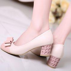 2015 new women's spring summer bowtie pumps thick high heels