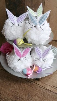 Hand painted rustic home decor, wreaths and more! Spring Crafts, Holiday Crafts, Easter Crafts For Seniors, Fall Sewing, Pom Pom Crafts, Tier Tray, Bunny Crafts, Dollar Tree Crafts, Bowl Fillers