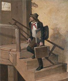 "James Henry Beard: ""Studio to Let"", 1864,oil on canvas, Dimensions: 17 × 14 in (43.2 × 35.6 cm), Herbert F. Johnson Museum of Art, Cornell University. Wikimedia Commons"