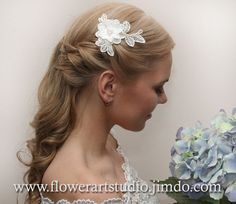 Ivory Lace Flower Hair Clip Natural White Hair by Flowerartstudio