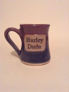 Large Oversized Harley Dude Pottery Stoneware Coffee Cup Mug Motorcycle Ride…