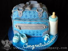 Louis Vuitton Diaper Bag Baby Shower Cake, made by Elizabeth Marek!