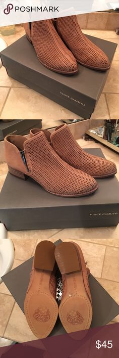 Vince Camuto perforated tan suede ankle booties Never been worn, in the box! Perfect for spring, summer and fall! Vince Camuto Shoes Ankle Boots & Booties