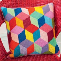 Bright Tumbling Blocks - Ehrman Tapestry, a fun and bright needlepoint design from Kaffe Fassett. Needlepoint Stitches, Needlepoint Pillows, Needlepoint Patterns, Needlepoint Canvases, Needlework, Cross Stitch Kits, Cross Stitch Embroidery, Cross Stitch Patterns, Broderie Bargello