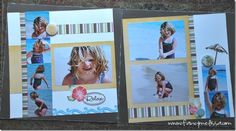 """love that we took papers that weren't traditionally """"beachy"""" and added some beach stamps and embellishments we created for the perfect beach layout!"""