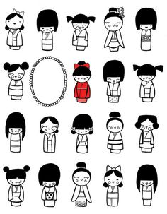 more kokeshi super cute kawaii japanese doll cartoon illustrations