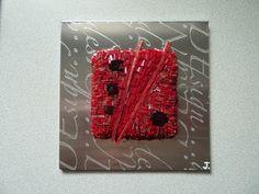 Design, tableau en mosaïque rouge et noirs sur plaque d'aluminium : Décorations murales par envolee-mosaique