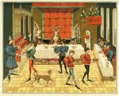 Banquet in a castle of the Middle Ages, Burgundian fashion, fifteenth century, Gothic, Late Middle Ages.