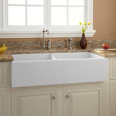 """39"""" Risinger Double-Bowl Fireclay Farmhouse Sink - White - Kitchen Sinks - Kitchen"""