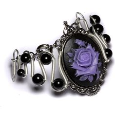 Steamgoth Bracelet - Black and Purple Rose Cameo (220 PLN) ❤ liked on Polyvore featuring jewelry, bracelets, accessories, cameo jewelry, rose bangle, purple jewellery, rose jewelry and rose jewellery