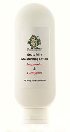 "Silly Goats Soap Company's - ""Peppermint & Eucalyptus"" Goat Milk Lotion, W/Toggle Bottle by SillyGoatsSoap on Etsy"