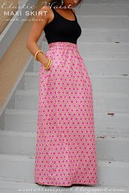 Maxi skirt with pockets and elastic waist band! Great directions!