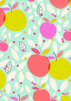 Love this colorful fruity pattern by Susan Driscoll / Surface pattern design Cute Wallpapers, Wallpaper Backgrounds, Iphone Wallpaper, Sparkle Wallpaper, Surface Pattern Design, Pattern Art, Illustrations, Illustration Art, Textures Patterns