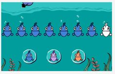 Eight fish swim gently in a line. Which fish comes next? Play Which Fish with your little one today! http://www.peepandthebigwideworld.com/games/game/whichfish/ #WGBH #WGBHkids #PEEP #Quack #preschool #Chirp #educator #teacher #parent
