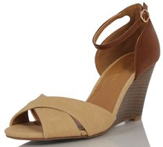 City Classfied Beige and Tan Color Block Open Toe Ankle Strap Wooden HighWedge     Clothing, Shoes & Accessories, Women's Shoes, Heels   eBay!