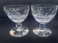 Set of 2 Waterford Crystal Signed Colleen Low Sherbet Glasses