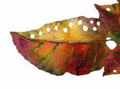 Nuno Felted scarf Wool silk Fall colour Orange Green Purple Gold Autumn leaf ooak felt scarf. $120.00, via Etsy.