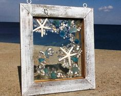 10 X 12 Heart beach glass . Mixed tones of blues, frosted clear and soft greens. Lots of beach glass in this one