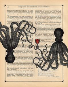 Personalized Octopus Art Print Octopus Lovers by BlackBaroque, $10.00