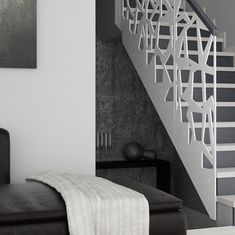 balustrada scara interioara din otel traforat alba cu mana curenta Industrial Bar Stools, Glass Stairs, Staircase Design, Decoration, Modern Design, Villas, Balcony, Home Decor, Ladder