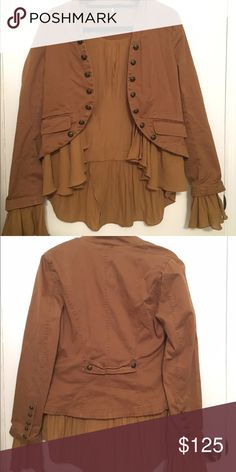 Free People Brown Ruffle Jacket Brown ruffle jacket Free People Jackets & Coats Blazers