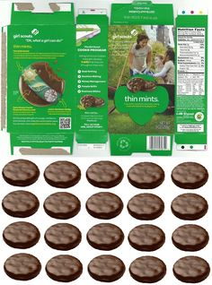 doll sized girl scout thin mints cookie box with matching cookies to fill it!