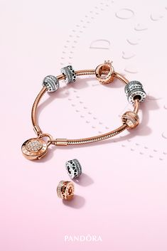 Pandora Jewelry OFF!> Bring lace to life in stylish stacks. Load up on the sculptural lines of the new lace-inspired charm bracelets with hearts and stones to create powerful stacks of Renaissance-inspired style. Disney Pandora Bracelet, Pandora Bracelets, Pandora Jewelry, Pandora Rose Gold, Fantasy Jewelry, Bracelet Designs, Cute Jewelry, Or Rose, Stones