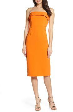 25a13aeec7df Women's Bardot Georgia Strapless Dress, Size Large - Orange Strapless Midi  Dress, Derby Attire