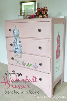 Two fabric lined stencil dress forms decoupaged onto a Vintage Waterfall Dresser want this in my sewing room! Furniture Fix, Hand Painted Furniture, Refurbished Furniture, Repurposed Furniture, Furniture Projects, Furniture Making, Furniture Makeover, Furniture Websites, Furniture Dolly